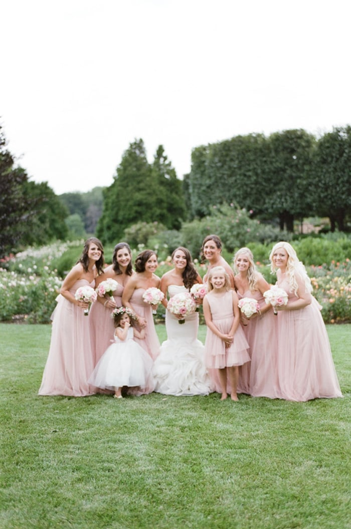 Wedding party with bridesmaids wearing blush pink at the Chicago Botanic Garden