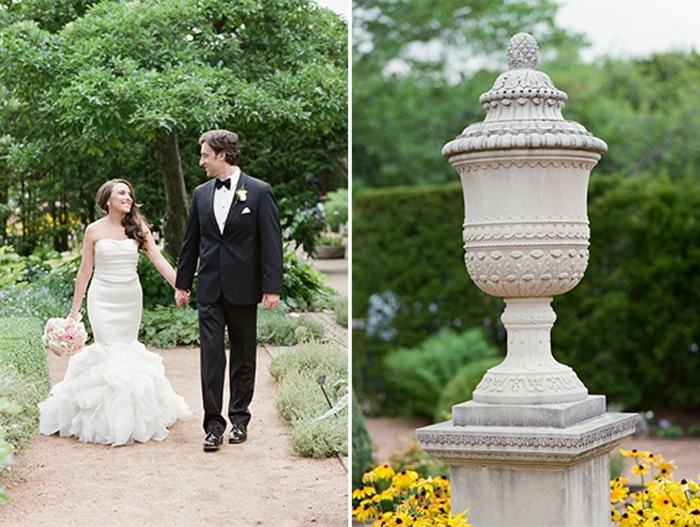 Bride and groom holding hands in the Chicago Botanic Garden