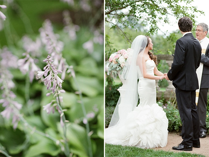 Couple standing at the altar during their outdoor wedding ceremony at the Chicago Botanic Garden