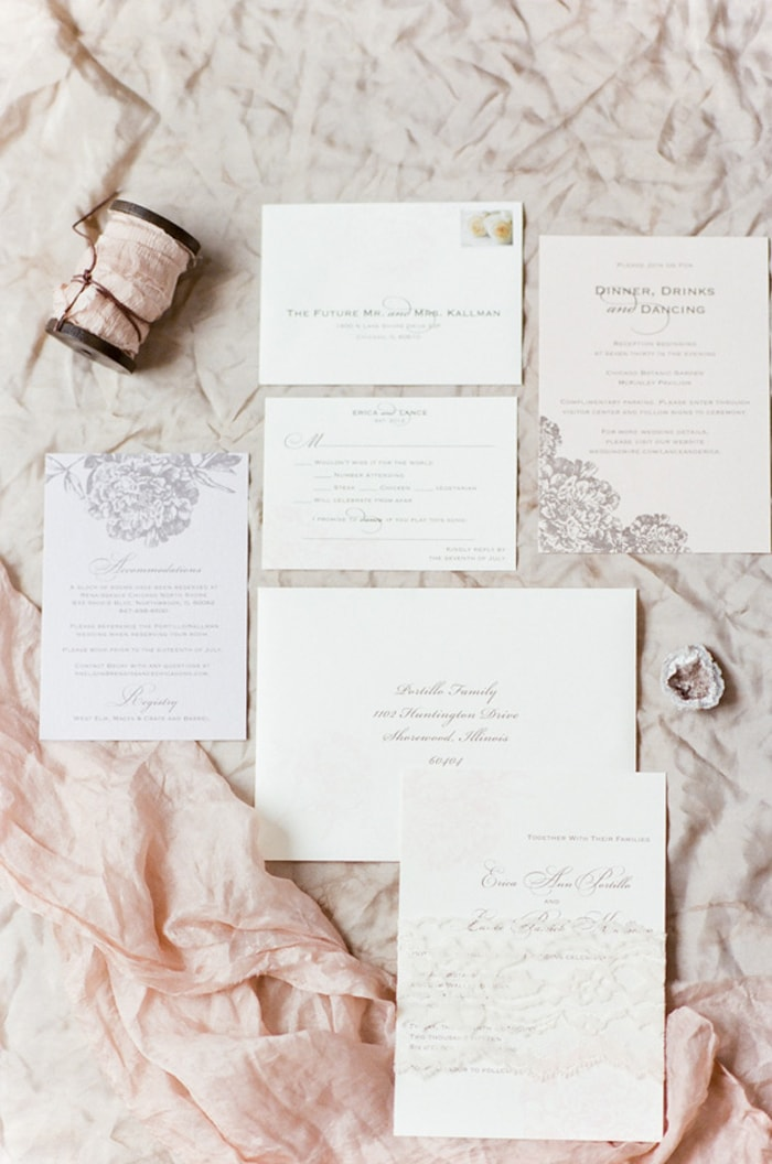 Styled invitation suite for a wedding at the Chicago Botanic Garden