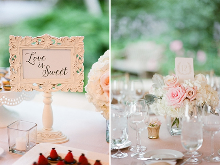 Tablescape details at a wedding reception at the Chicago Botanic Garden