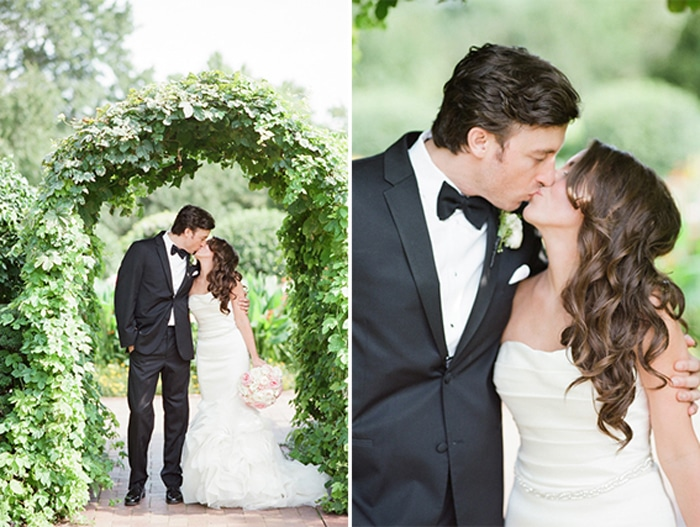 Bride and groom kissing in the Chicago Botanic Garden