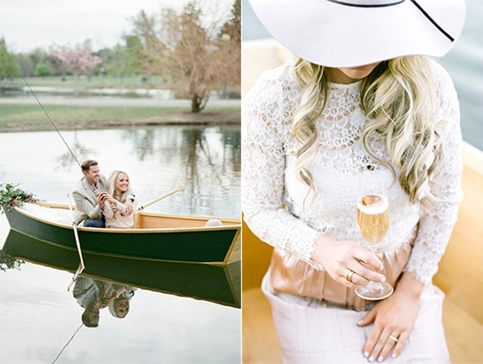Couple sits in a green rowboat on a lake for their Denver engagement portraits