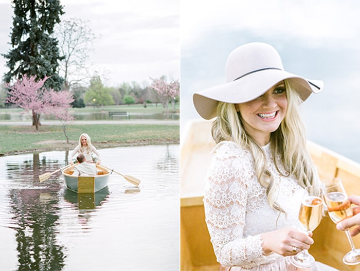 Woman holds a glass of Champagne on a rowboat in Denver