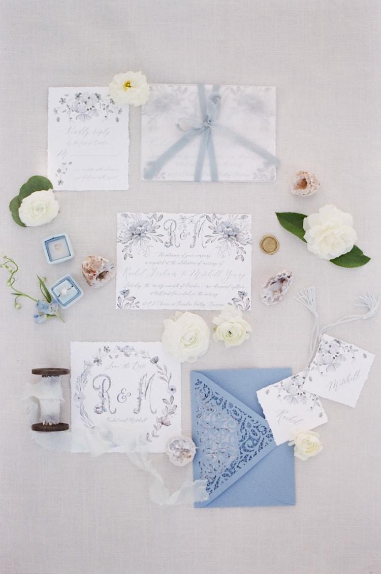 Custom wedding invitation suite stylized