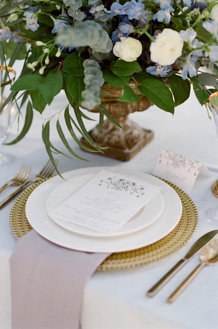 Wedding program on plate