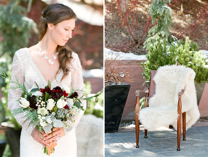 Collage of bride holding bouquet and chair with white fur hanging over it