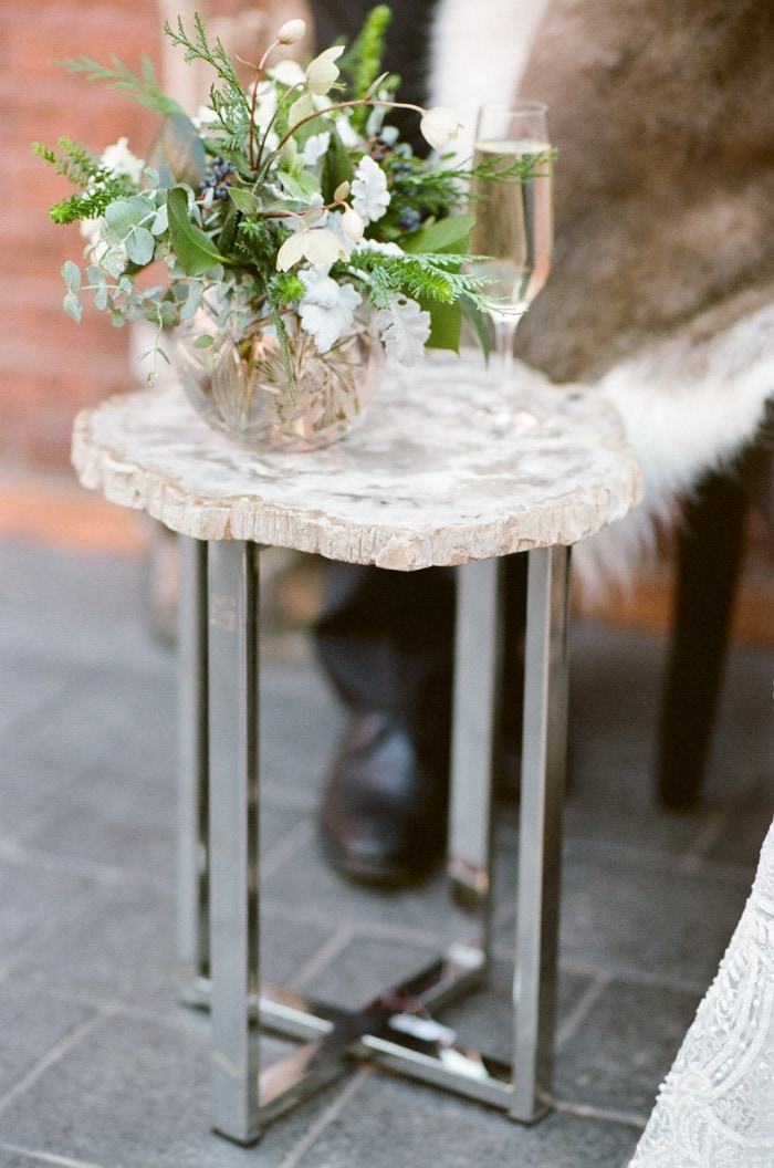 Stylized decor of table and bowl of flowers
