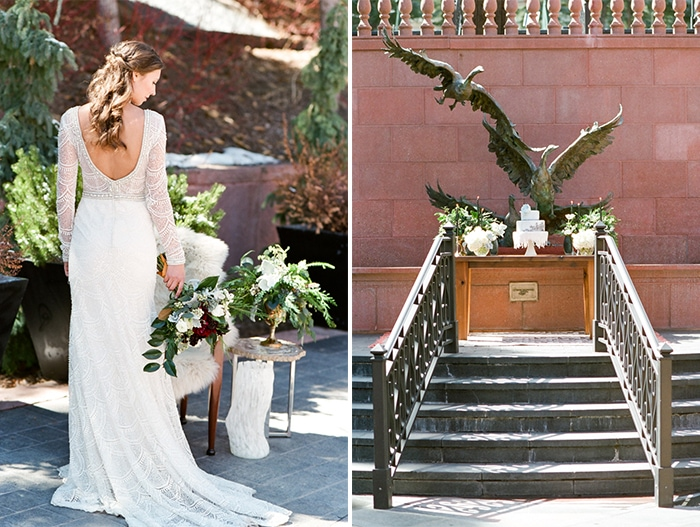 Back of bride holding flowers and wedding ceremony location