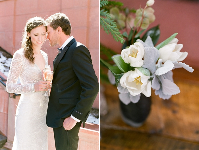 Romance of wedding couple with holding drinks and closeup of flowers