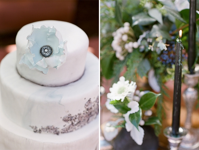 Collage of wedding cake and Wedding Reception Tablescape Details