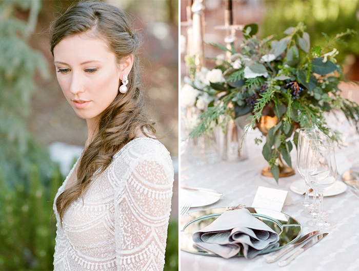 Wedding session shoot of bride and tableware
