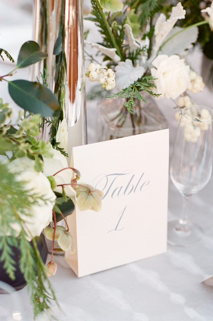 Table card showing the table number