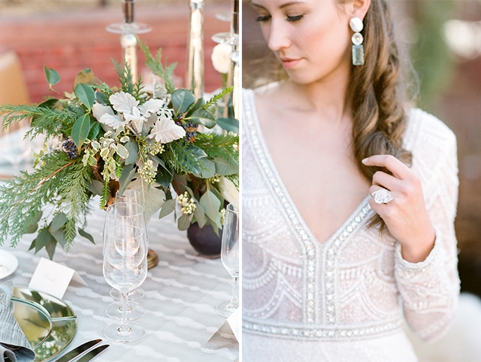 Bridal with florist decoration on reception table and closeup shot of bride looking down