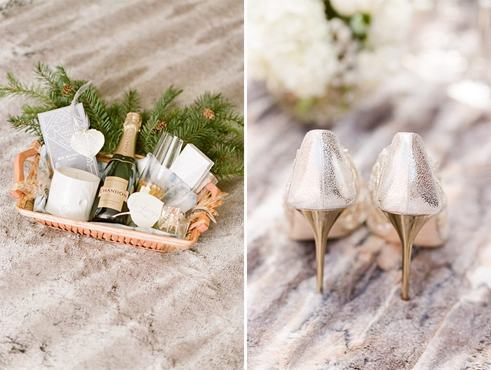 Styled shoot of gift basket on the left and Oscar de La Renta shoes on the right
