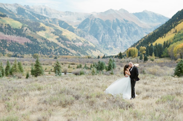 Intimate elopement of couple with Telluride mountain views