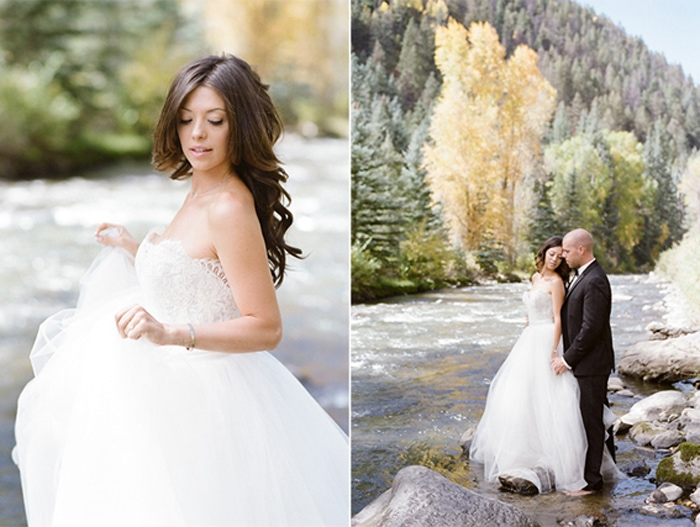 Just married couple along the river in Colorado