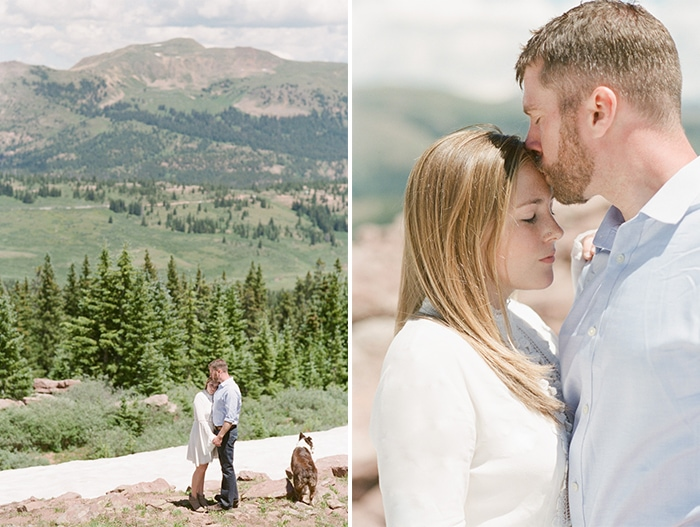 Vail engagement session with couple in front of mountain range with dog