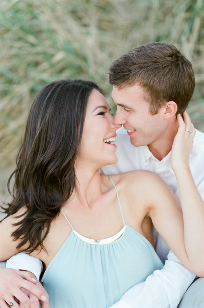 Romance of couple together smiling