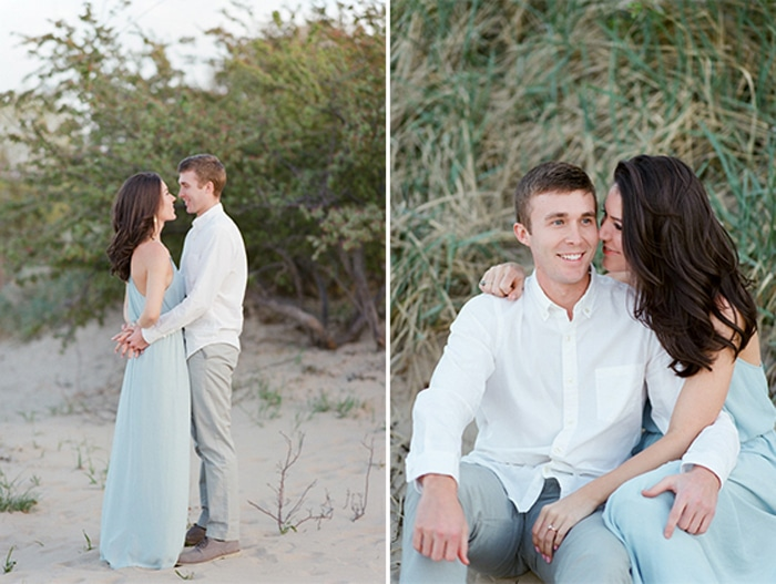 Collage of couple at the beach wearing blue dress and white dress shirt