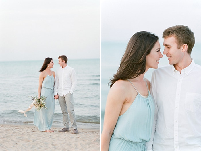 Collage of beach engagement session