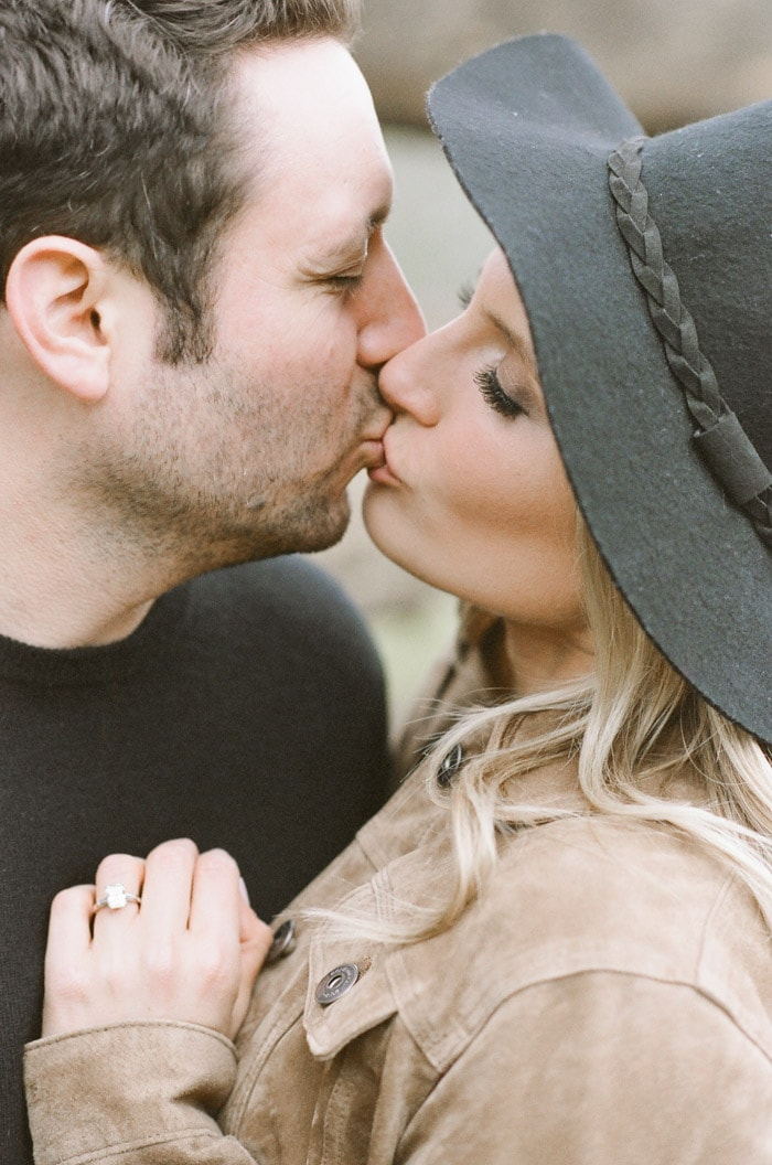 Intimate close up of engaged couple