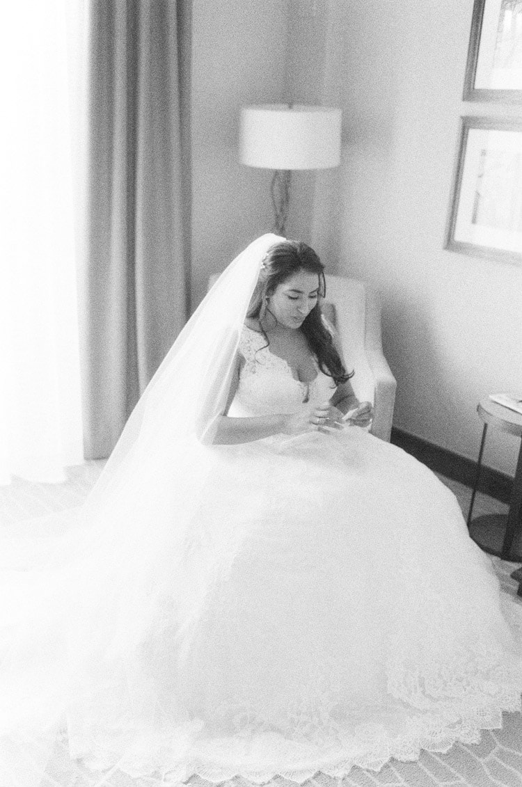 Bride getting ready for her wedding day in Colorado