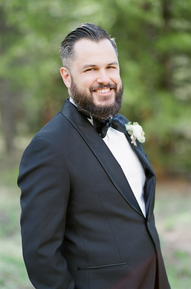Portrait of groom on his wedding day in Colorado