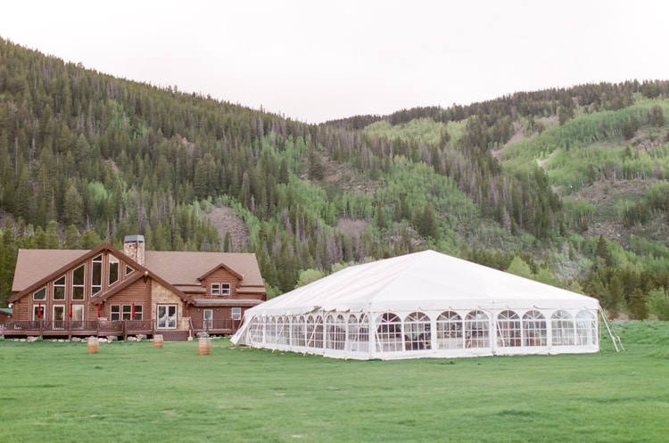Tented reception at Camp Hale in Vail