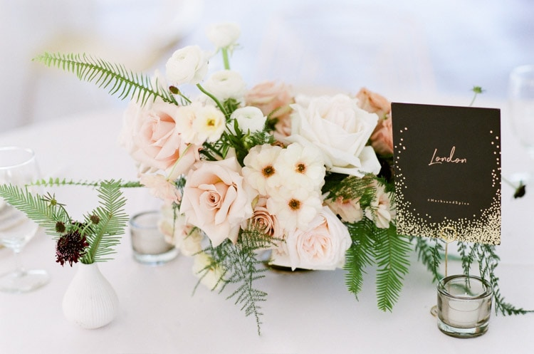 Floral centerpiece with greenery