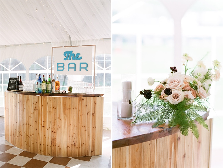 Rustic wooden bar at Camp Hale wedding reception in Vail
