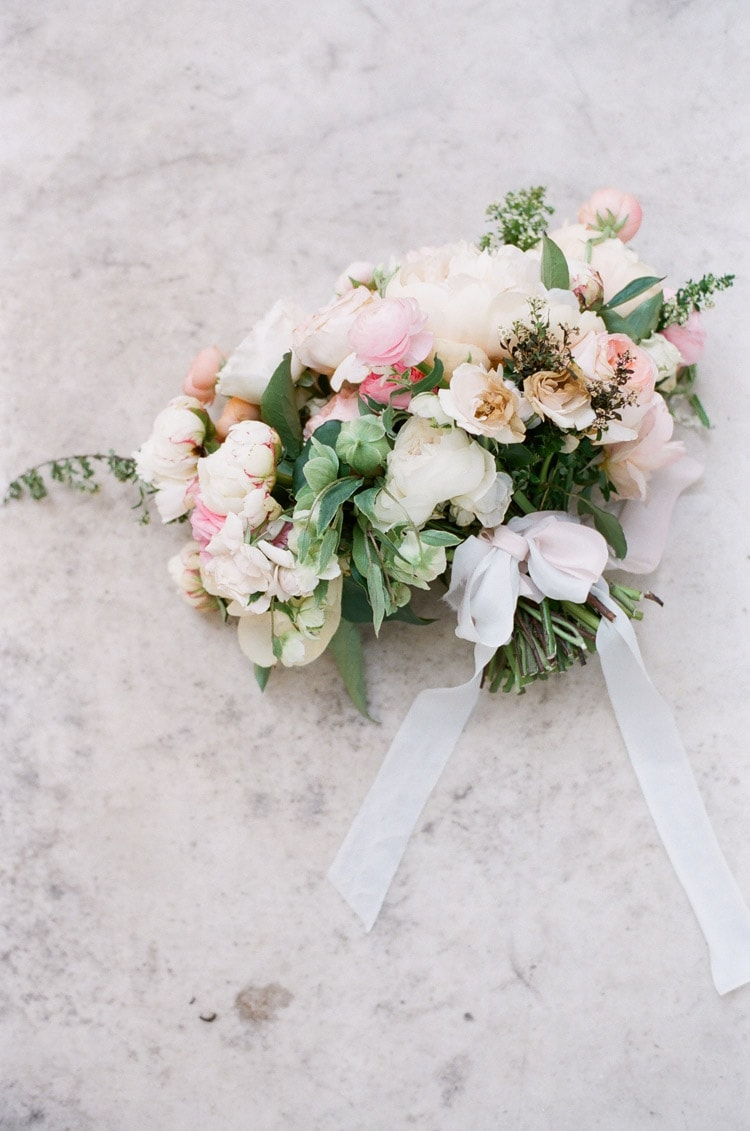 Bridal bouquet in pink and cream with ribbon