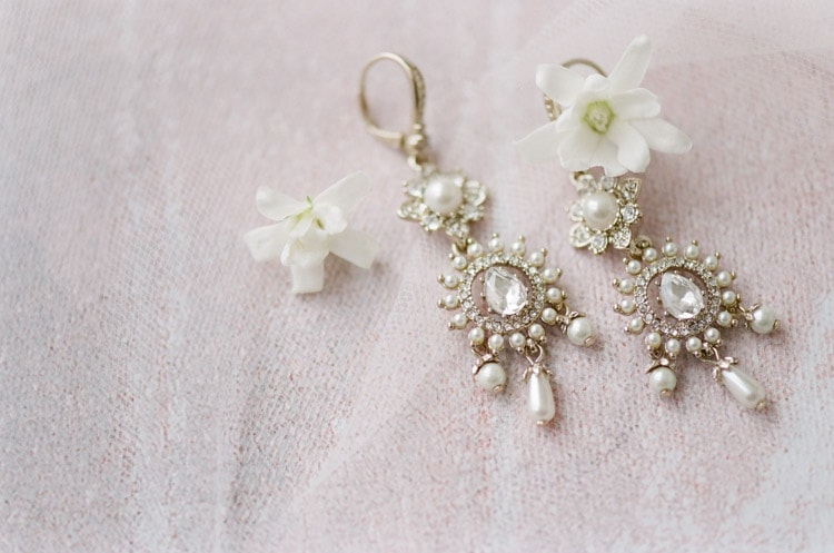 Antique drop earrings with pearls