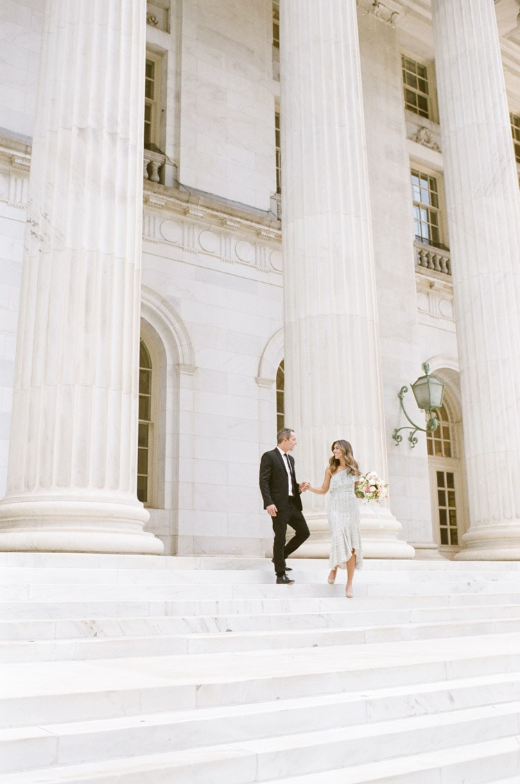 Engagement portraits in front of the Denver courthouse