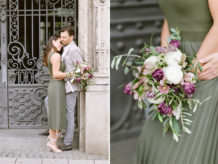 Woman holding a bouquet during her engagement portraits in Munich