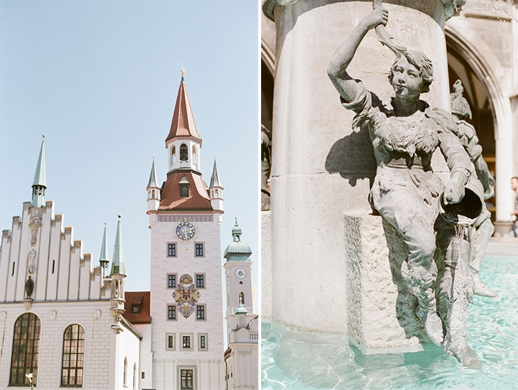 Courtyard and fountain in Munich Germany