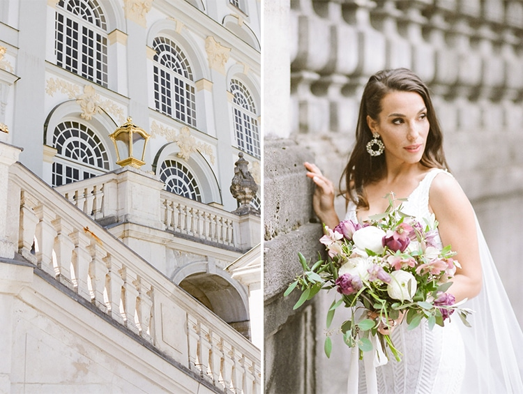 Bride standing in front of grand outdoor staircase in Munich