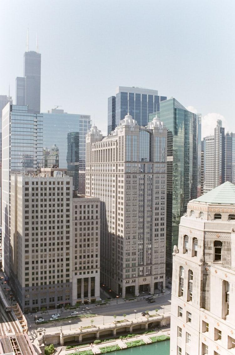 Chicago Riverwalk buildings and street