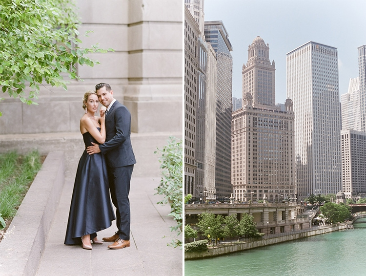 Couple on the left and Chicago skyscrapers on the river on the right