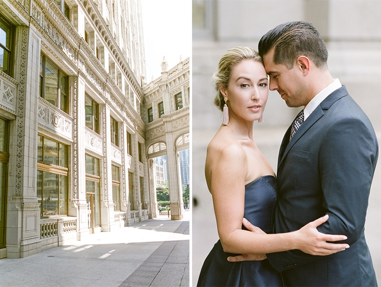 Wrigley Building and couple embracing