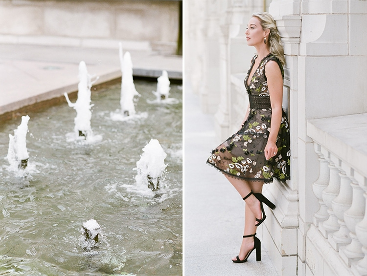 Water fountains and woman leaning on the right side