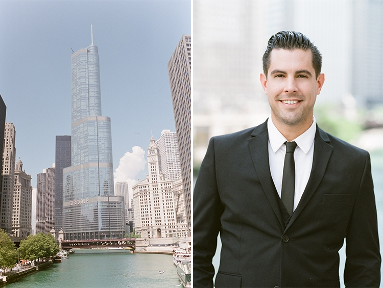 Chicago Riverwalk view of the river and buildings with men smiling in black suit