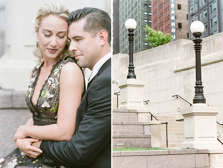Engagement portrait session and light poles on white stone