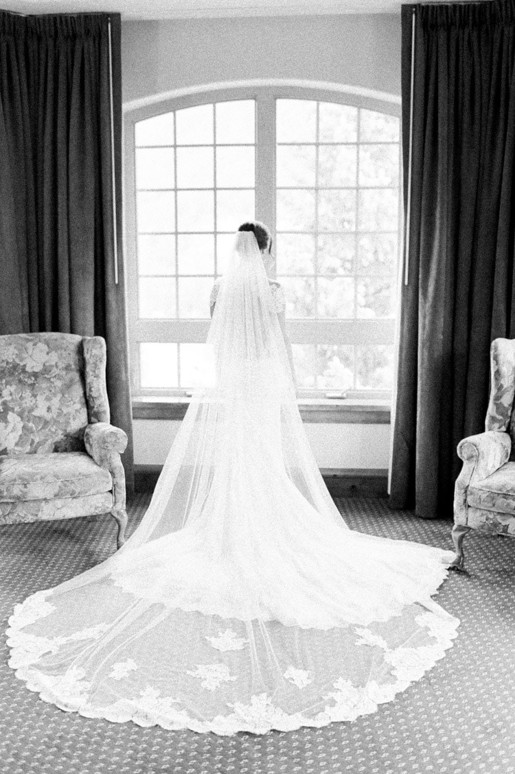 Back view of bride's long veil and wedding dress