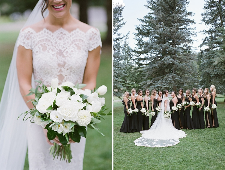 On left, closeup of bride in white wedding gown holding arrangement of white flowers. On right bridesmaids posing with bride on lawn