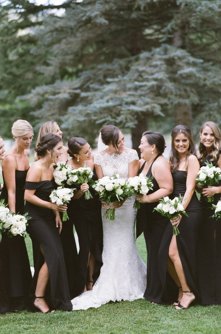 Closeup of bride laughing with bridesmaids