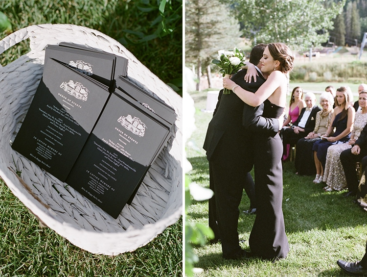Wedding programs in basket and people hugging at wedding ceremony
