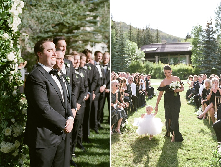Collage of wedding ceremony with groomsman standing and waiting and flower girl walking