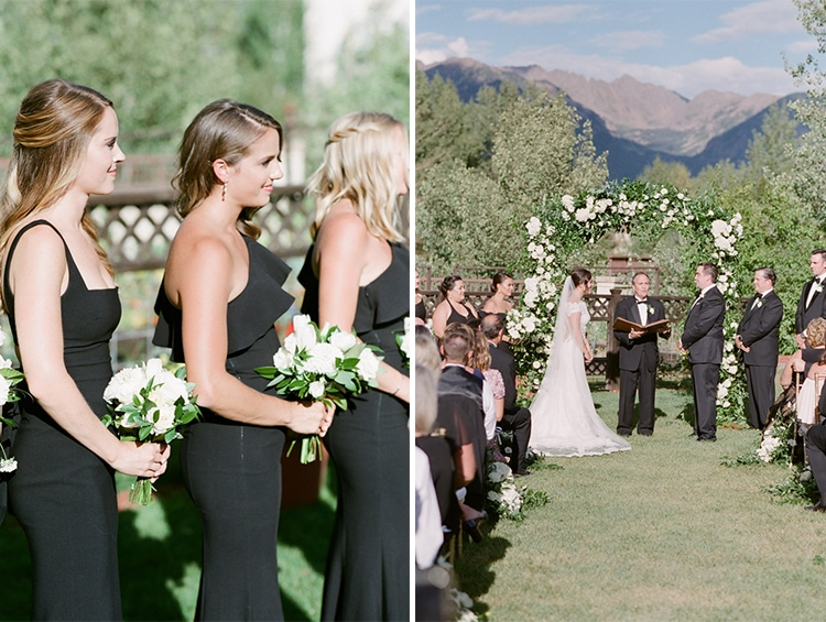 Left is bridesmaids standing holding bouquets and on right is wedding ceremony reading of vows by officiant