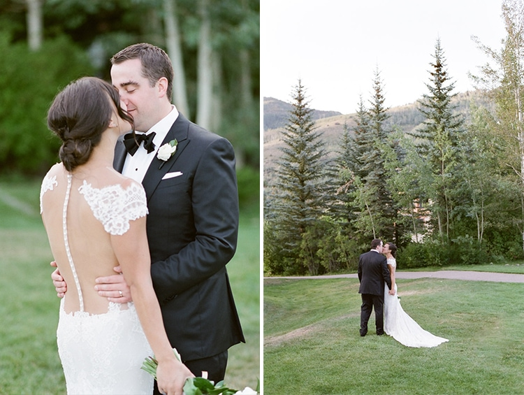 Collage of newly weds kissing in Vail, Colorado